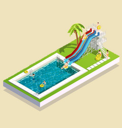 Aqua park waterslide composition vector