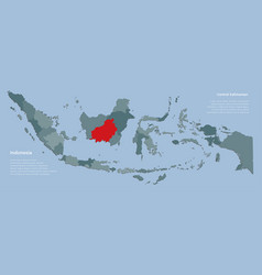 Asia indonesia map and province kalimantan vector