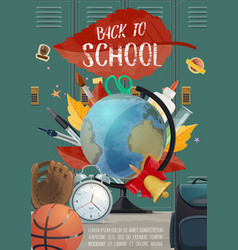 Back to school stationery and locker poster vector