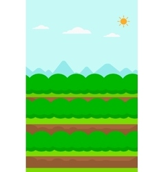 Background of field rows with green bushes vector
