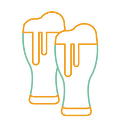 beer glasses foam cold drink vector image