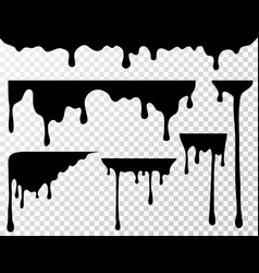 Black dripping oil stain liquid drips or paint vector
