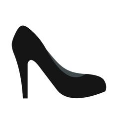 Black high heel shoe icon flat style vector