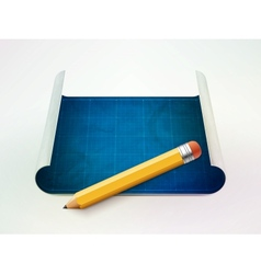 Blueprint and pencil vector
