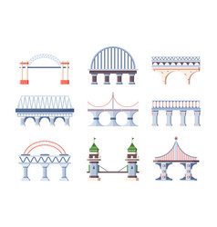 bridge set architecture humpback city arched road vector image
