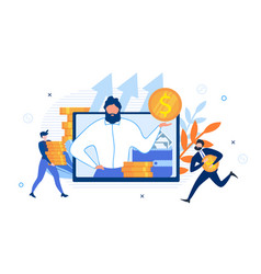 Business advisor on screen and rich office workers vector