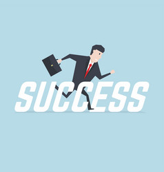 businessman running with success message vector image