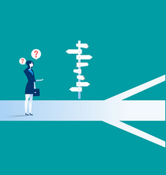 Businesswoman standing confused by direction sign vector