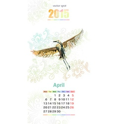 calendar for 2015 april vector image