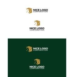 Casino logo 3d gold dice vector
