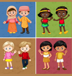 children on four different color background vector image