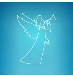 Christmas Angel on a Blue Background vector image