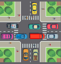 Crossroad top view road intersection vector