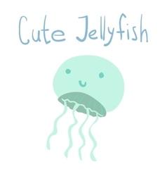 cute cartoon ocean jellyfish vector image