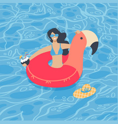 cute summer time beach girl swimming on pink vector image