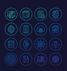 development configuration service api line icons vector image