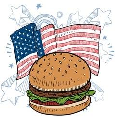 doodle americana hamburger vector image