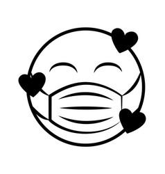 emoticon with medical mask coronavirus covid-19 vector image