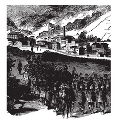 Federal troops at grafton west virginia vintage vector