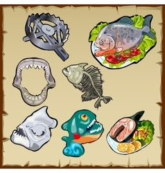 Fish set traps jaw and other image piranha vector