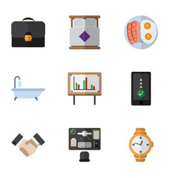 Flat icon oneday set of mattress tub whiteboard vector
