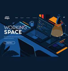 flat modern design working space vector image