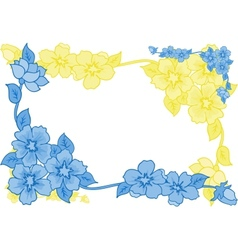 Frame from abstract blue and yellow flowers vector image
