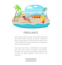 Freelance poster with push button read more woman vector