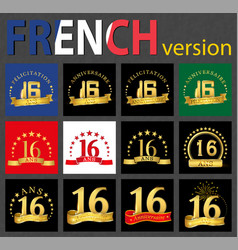 french set of number 16 templates vector image
