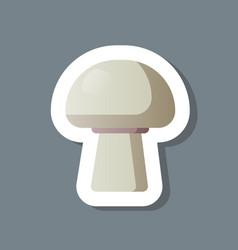 fresh champignon musroom sticker tasty vegetable vector image