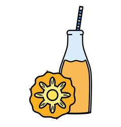 fresh pineapple juice fruit in botttle with straw vector image