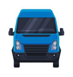 Front view blue minibus for passenger or cargo vector