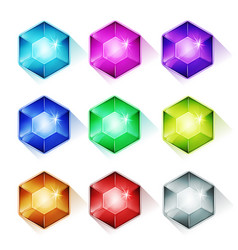 Gems crystal and diamonds icons vector