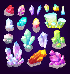 Gemstone crystals and jewel gem stones vector