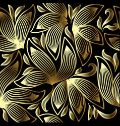 gold 3d floral seamless pattern line art tracery vector image