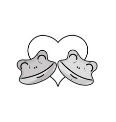 grayscale cute frog couple animal with hearts vector image
