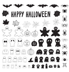 Halloween collection outlines and silhouettes vector