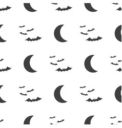 halloween seamless pattern moon and bat vector image