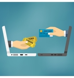 Hands with credit card and cinema tickets vector image