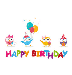 Happy birthday celebration with cute owl vector