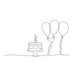happy birthday one line drawing vector image