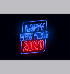 Happy new year 2020 in neon style background vector