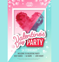 happy valentines day disco party poster vector image