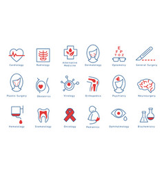 Hospital departments icons set vector