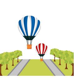 hot air balloosn flying street trees vector image
