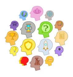 human mind head icons set cartoon style vector image