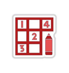 In paper sticker style Sudoku vector