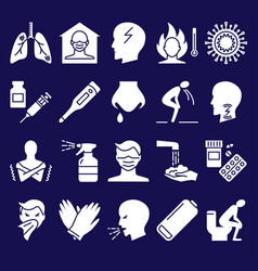 influenza and covid19 symptoms icon set in flat vector image