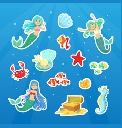 marine life cute stickers collection cute little vector image