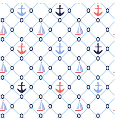 mesh nautical seamless pattern background vector image